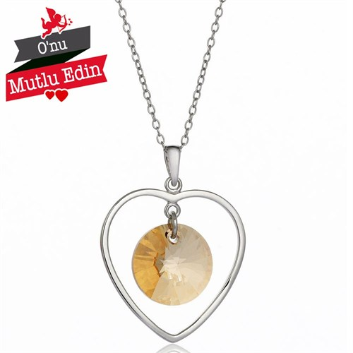 Bayan Lili Golden Shadow Gümüş Kalp Kolye