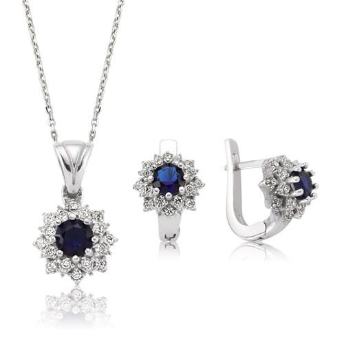 Bayan Lili Gümüş Mavi Nilüfer Çiçeği Set