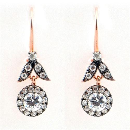 Bayan Lili Elmas Taşlı 925 Ayar Gümüş Küpe Çiçek