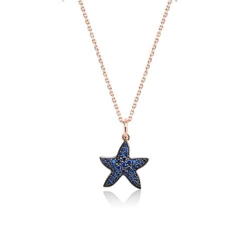 Bayan Lili Gümüş Lacivert Deniz Yıldızı Kolye