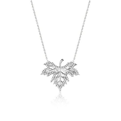 Bayan Lili Sonbahar Yaprağı Gümüş Kolye
