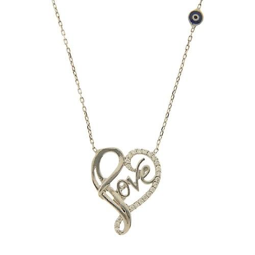 Bayan Lili Gümüş Love Yazılı Kalp Kolye