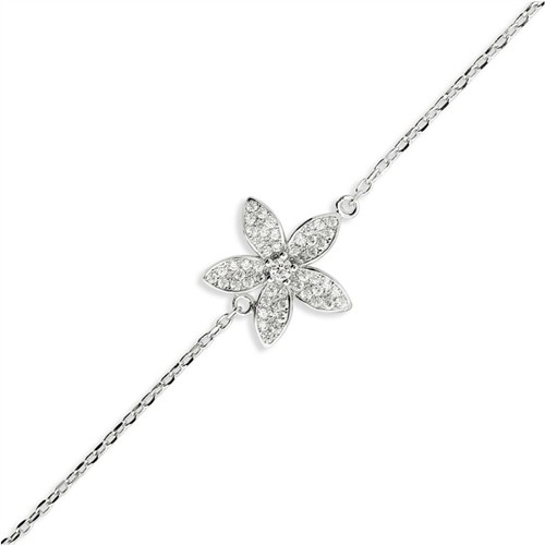 Bayan Lili Gümüş Çiçek Bileklik