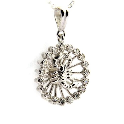 Bayan Lili 925 Ayar Gümüş Burç Kolye Akrep