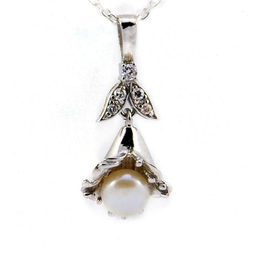 Bayan Lili İnci Taşlı 925 Ayar Gümüş Kolye İnci Demeti