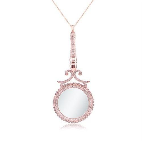 Bayan Lili Gümüş Büyüteç Tasarımlı Büyük Kolye