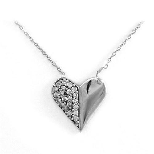 Bayan Lili Gümüş Zirkon Taşlı Kalp Kolye