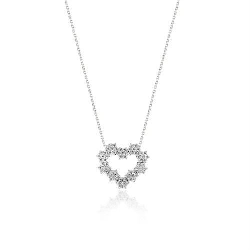 Bayan Lili 925 Ayar Gümüş Çelenk Kalp Kolye