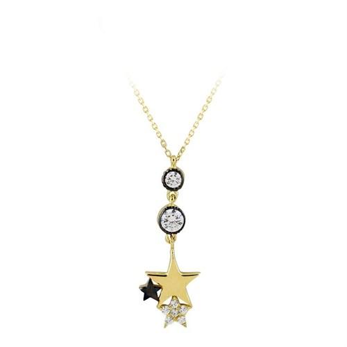 Bayan Lili Üç Yıldızlı Altın Kolye