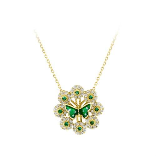 Bayan Lili Yeşil Mineli Kelebekli Altın Kolye
