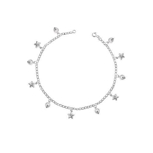 Olivin Accesories Gümüş Kalp Ve Yıldız Figürlü Halhal