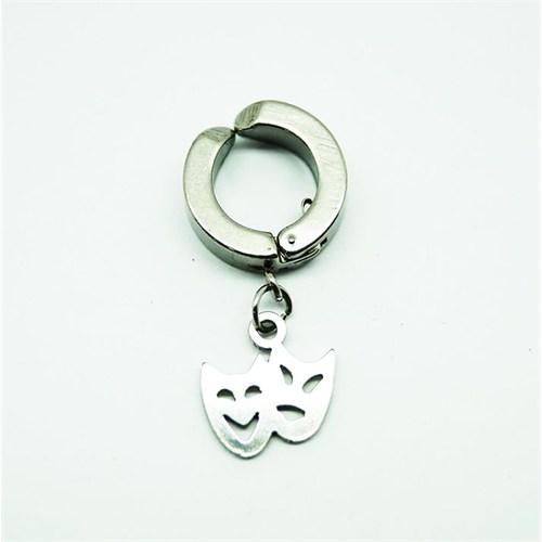 Gümüş Rengi Maske Çelik Sıkıştırma Küpe