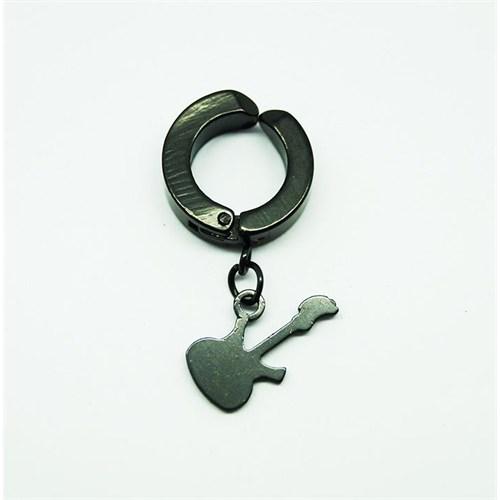 Siyah Gitar Çelik Sıkıştırma Küpe