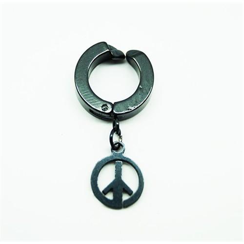Siyah Barış Çelik Sıkıştırma Küpe