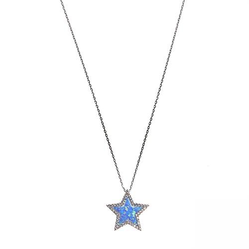 Aşina Gümüş 925 Ayar Gümüş Yıldız Mavi Opal Kolye