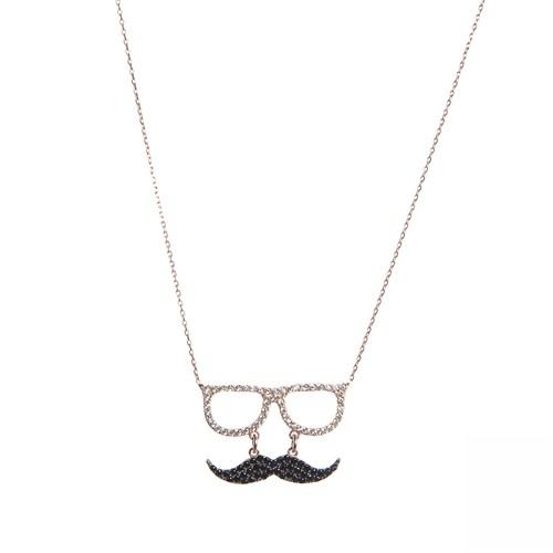 Aşina Gümüş 925 Ayar Gümüş Gözlük Bıyık Kolye