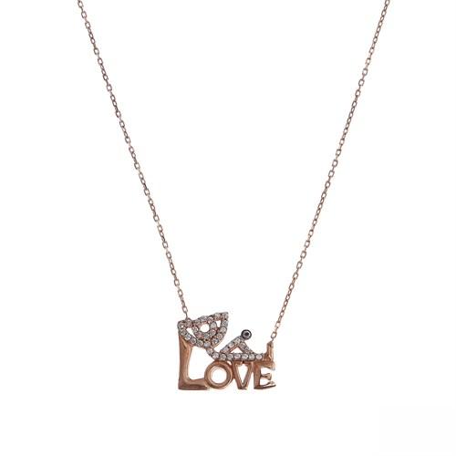 Aşina Gümüş 925 Ayar Gümüş Love Aşk Kolye