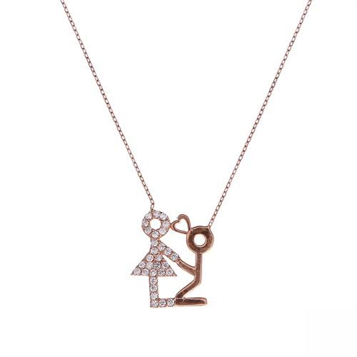 Aşina Gümüş 925 Ayar Gümüş Rose Pembe Altın İlanı Aşk Kolye