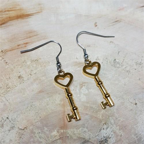Sette Kalp Anahtar Altın Kaplama Çelik Küpe U17