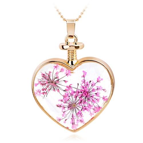 Güven Altın Yaşayan Kolyeler Kristal Cam Kurutulmuş Çiçekler Yk96