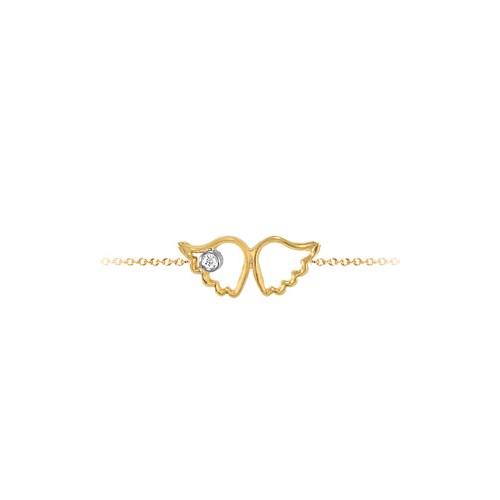 Goldstore 14 Ayar Altın 0.01 ct Pırlanta Melek Kanadı Bileklik DB21188