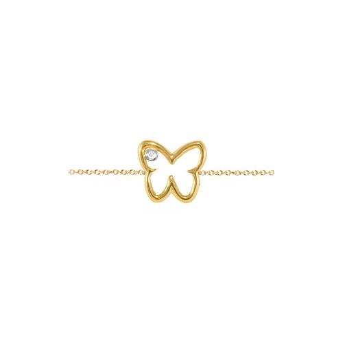 Goldstore 14 Ayar Altın 0.01 ct Pırlanta Kelebek Bileklik DB21237