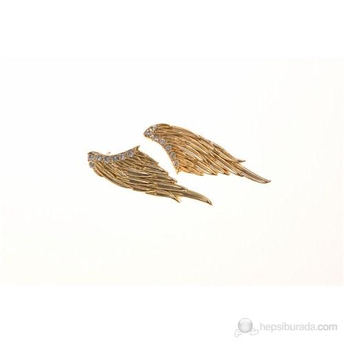 Lochers Altın Kaplama Melek Kanadı Desenli Küpe