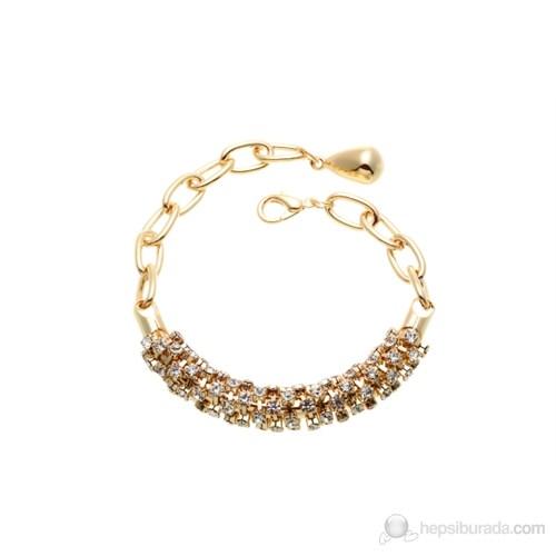 Lochers Altın Kaplama Kristal Taşlı Bileklik