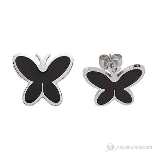 Lochers Kelebek Desenli Çelik Küpe