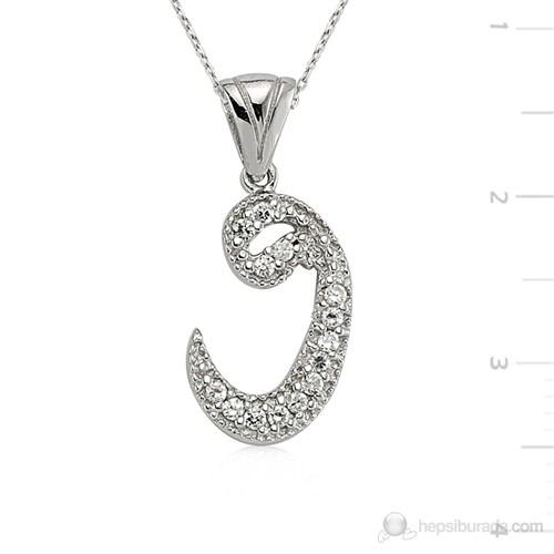 Gumush 925 Zirkon Taşlı Gümüş Vav Kolye Pt0470001