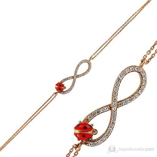 Bayan Lili Gümüş Rose Uğur Böceği Bileklik