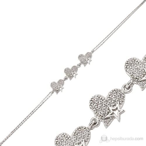 Bayan Lili Zirkon Taşlı Gümüş Bileklik