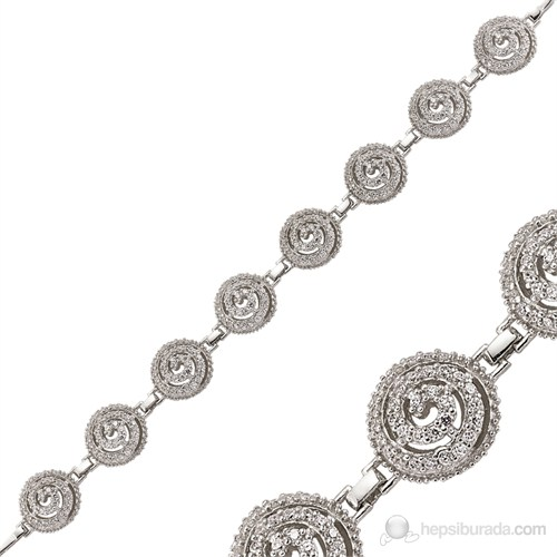 Bayan Lili Zirkon Taşlı Gümüş Girdap Bileklik