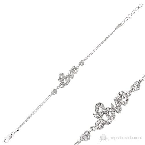 Bayan Lili Kalpli Love Gümüş Bileklik