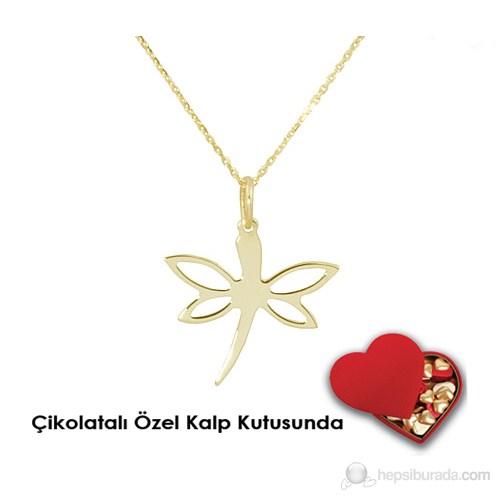 eJOYA Yusufçuk Altın Kolye AG2013 ''Özel Çikolatalı Kalp Hediye Kutusunda''
