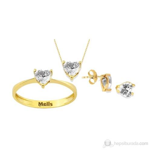 Melis Gold Altın Kalpli Takım / Set