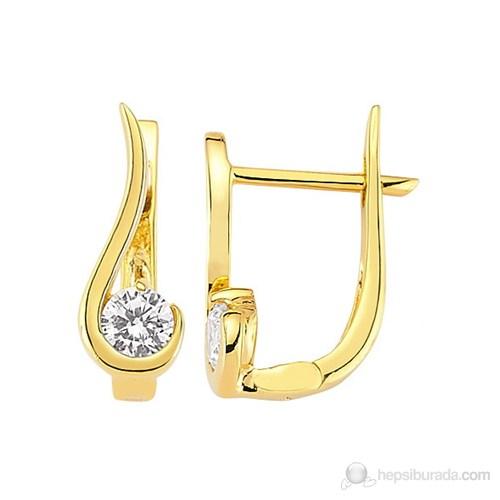Goldstore 14 Ayar Altın Tek Taş Küpe Ges25407
