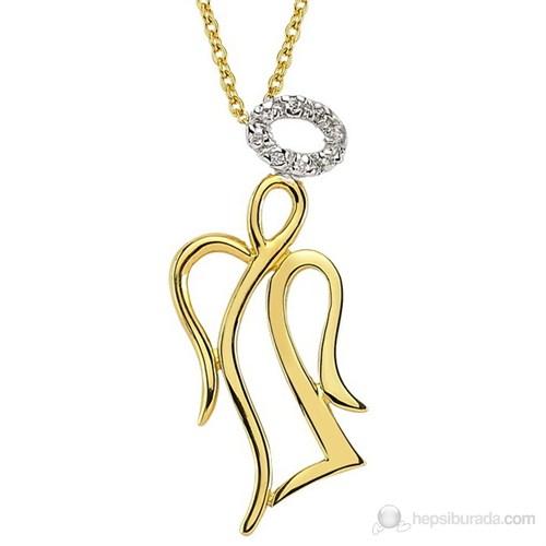 Goldstore 14 Ayar Altın 0.04 Ct Pırlanta Melek Kolye Dp8570