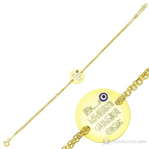 Gumush 925 Altın Kaplama Nazar Duası Bileklik Br1630002