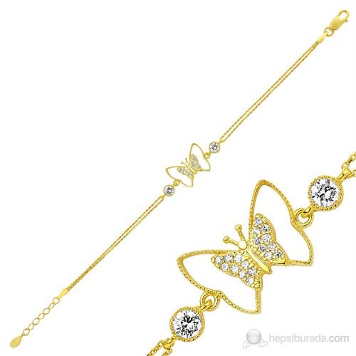 Gumush 925 Altın Kaplama Kelebek Bileklik Br0460172