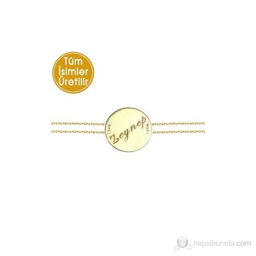 Goldstore 14 Ayar Altın Madalyon İsim Bileklik PNJNB23749