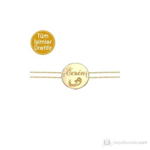 Goldstore 14 Ayar Altın Madalyon Vav İsim Bileklik PNJNB23752