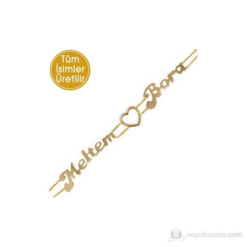 Goldstore 14 Ayar Altın Aşkım ve Ben İsim Bileklik PNJ27376