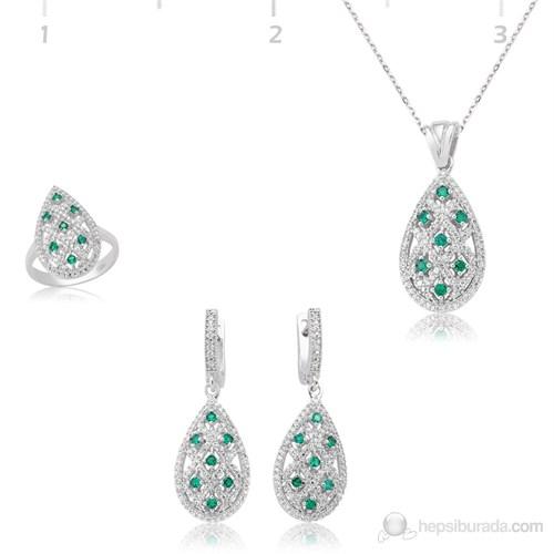 Tekbir Silver 925 Zirkon Yeşil Taşlı Damla Set ST0470564