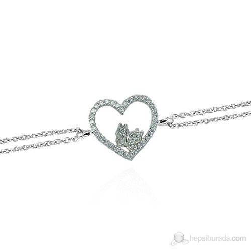 Glorria 925 Ayar Gümüş Kelebekli Kalp Bileklik