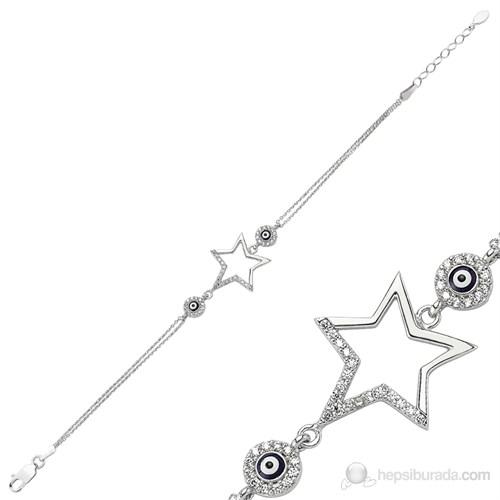 Gumush 925 Zirkon Taşlı Nazarlı Yıldız Bileklik | Br0460187
