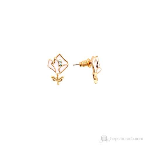 Lochers Kristal Taşlı Çiçek Desenli Küpe