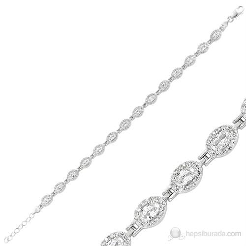 Gumush 925 Gümüş Zirkon Taşlı Su Yolu Bileklik Br0460202