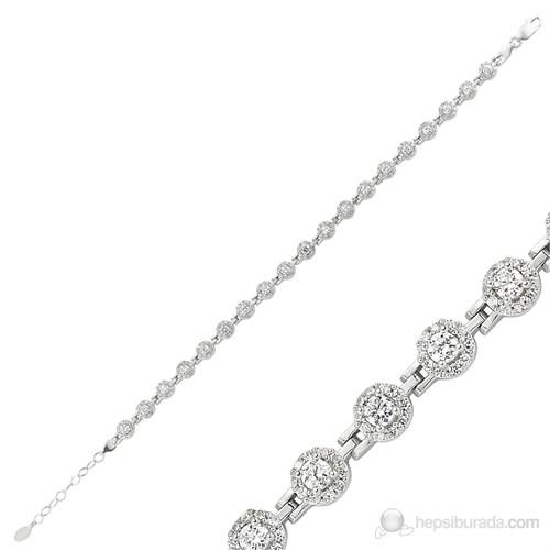 Gumush 925 Gümüş Zirkon Taşlı Su Yolu Bileklik Br0460203