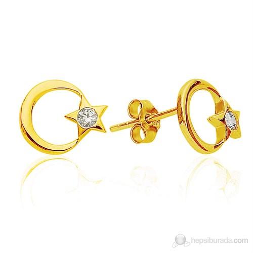Bella Gloria Ayyıldız Altın Küpe (Pe78173)